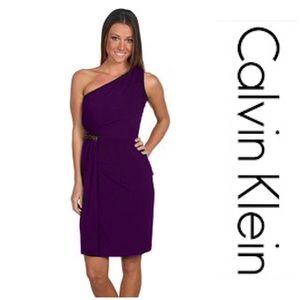 New Calvin Klein Purple One-Shoulder Dress